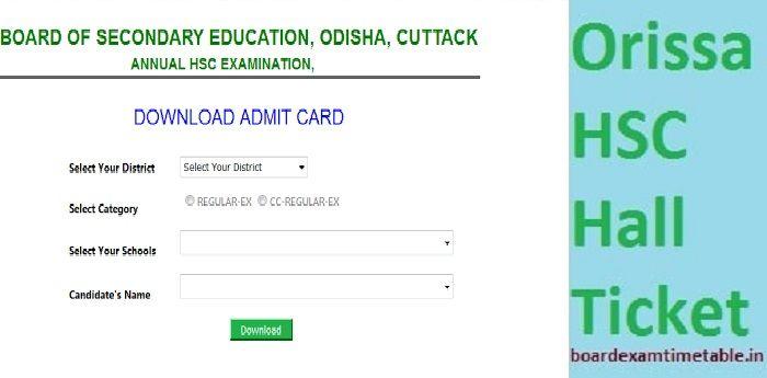 Orissa HSC Hall Ticket 2020