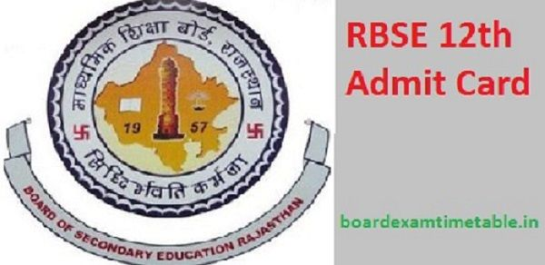 RBSE 12th Admit Card 2021