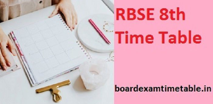 RBSE 8th Class Time Table 2020
