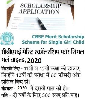 CBSE Single Girl Child Scholarship Online Form