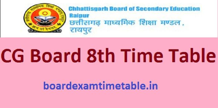 CG Board 8th Time Table 2020